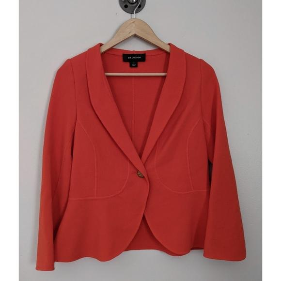St. John Orange One Button Blazer Size 8